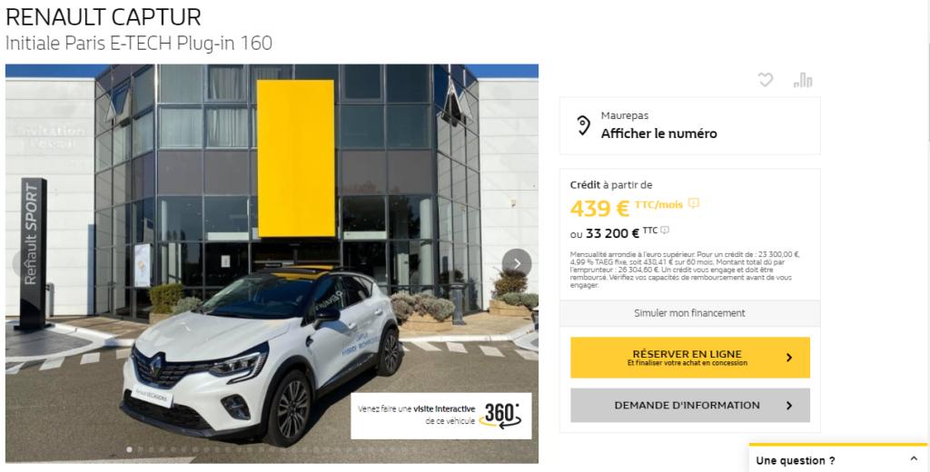 Réservation en ligne voiture occasion Renault